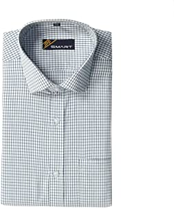 JPF Smart Men's Cotton Regular Fit Formal Shirt for Men - Casual Full Sleeves Shirt for Men/Cotton Checkered Short Sleeve Shirts for Men White & NavyBlue Checked Shirts