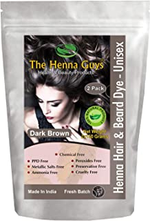 2 Packs of Dark Brown Henna Hair and Beard Color/Dye 150 Grams - Chemical Free Hair Color - The Henna Guys
