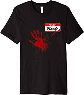 Mens Hello My Name Is Randy - Blood Hand - Scary Halloween Premium T-Shirt