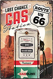 US Highways – Route 66 Gas Station – Gift idea for USA Fans, Metal Plaque, Vintage Design for Decoration - Tin Signs Metal...