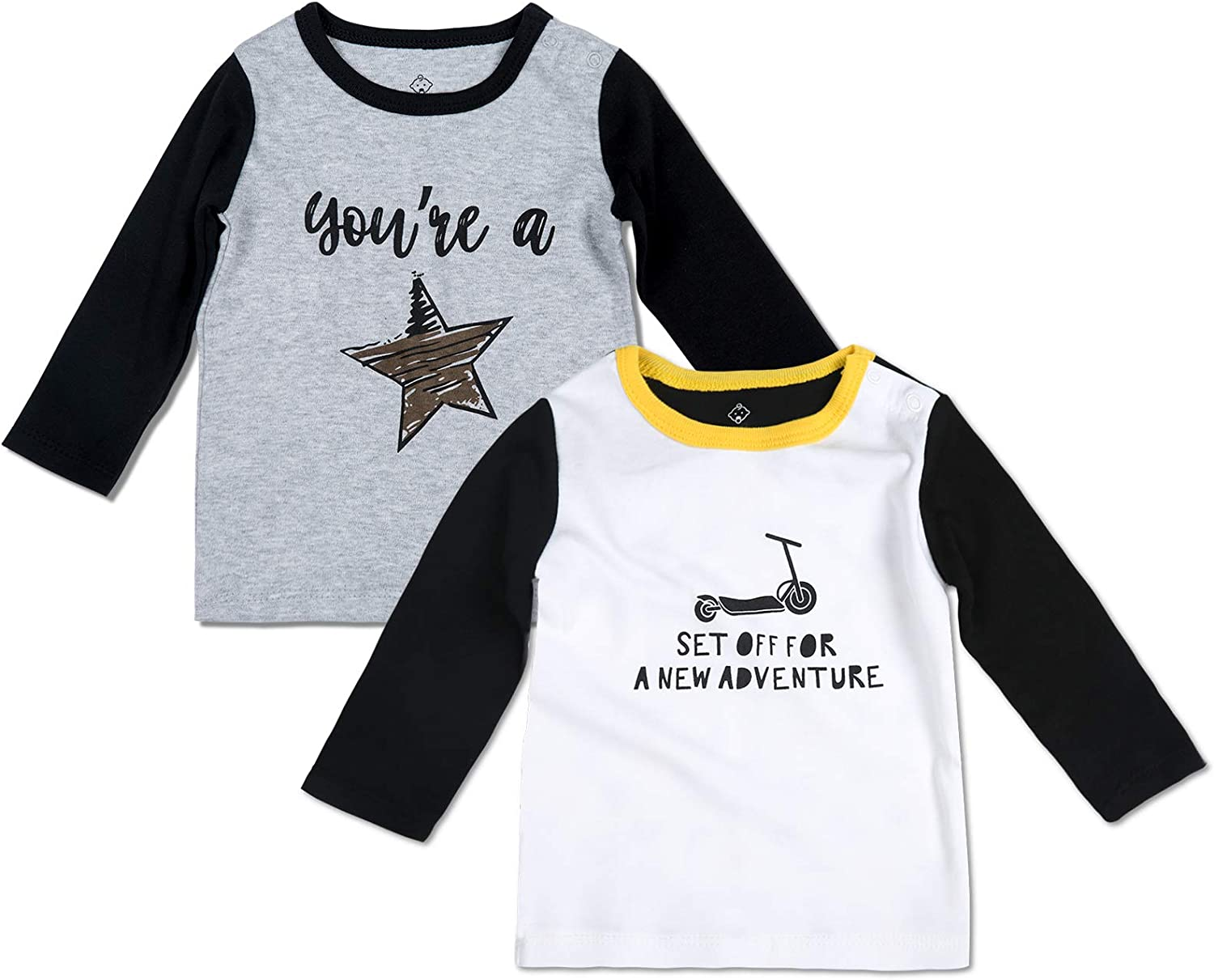 DEFAHN Toddler Baby Gril Boy T-Shirt Girls Top Tee Long Sleeve Graphic Shirts Blouse 2 Pack Fall Clothes