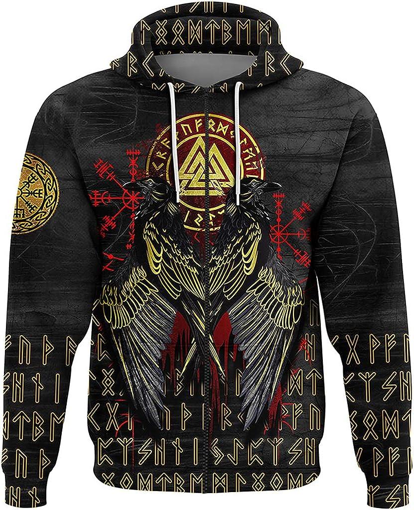 Odin Raven Viking Hoodie, Norse Odin Rune 3D Print Valknut Sweatshirt, Men Fall Pullover Jacket with Pocket