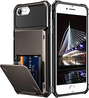 Vofolen Cover for iPhone 7 Case Wallet 4-Card Pocket Design Credit Card Holder ID Slot Dual Layer Scratch Resistant Hard Shell TPU Rubber Bumper Armor Hybrid Protective Case for iPhone 7 8 Gun Metal