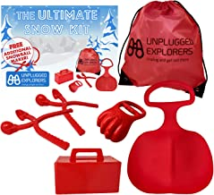 Unplugged Explorers 6 pc. Ultimate Snow Toys kit, Winter Sports- 1 Red Sled, Snow Brick Maker, Snow Digger & Snow Mold, 2 Snowball Makers (1 Free) 1 Oversized Winter Toys Storage