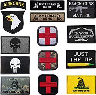 13 Pack Military Tactical Patches Set, Embroidered Punisher Skull 101st Airborne Screaming Eagle Medic Cross Tactical Don't Tread On Me Military Morale Patches