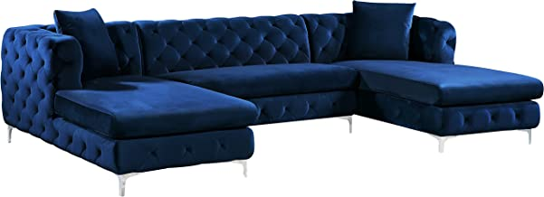 Meridian Furniture Gail Collection Modern | Contemporary Velvet 3 Piece Sectional, 127