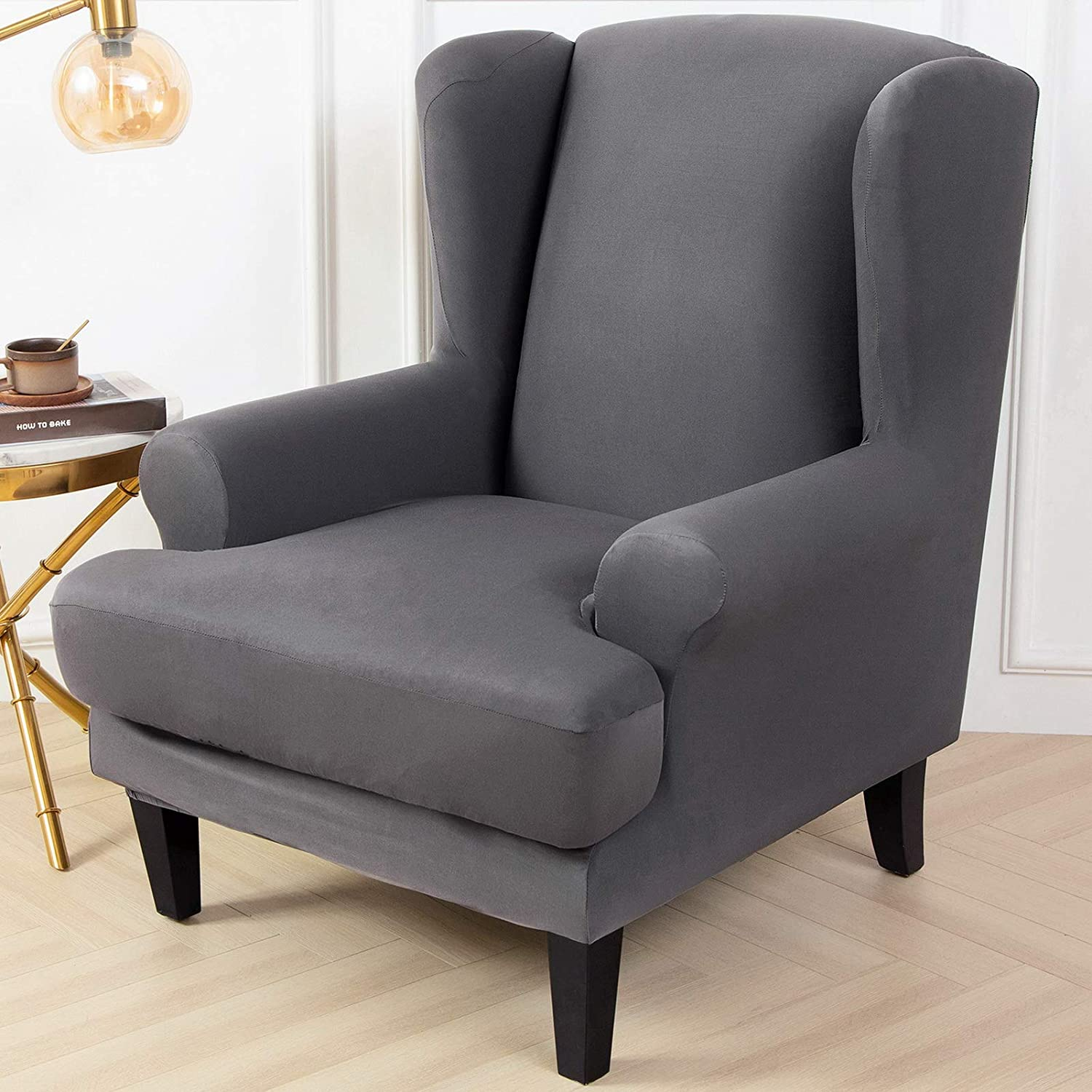 papasgix Wing Chair Covers Elastic 2-Piece Wingback Armchair Covers with Removable Arms Slipcovers Fabric Couch Slipcover Polyester Spandex Furniture Protector,Sliver Grey