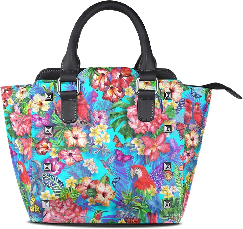 My Little Nest Women's Top Handle Satchel Handbag Exotic Plant Blossom Birds Butterfly Ladies PU Leather Shoulder Bag Crossbody Bag