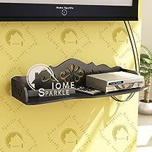 Home Sparkle Carved Set Top Box Holder Engineered Wood (Black)