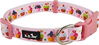 Bestbuddy Pet Colorful Cupcakes Pink Durable Nylon Designer Fashion Dog Collar Trendy Comfortable Adjustable Dog Collar with Buckle BBP026