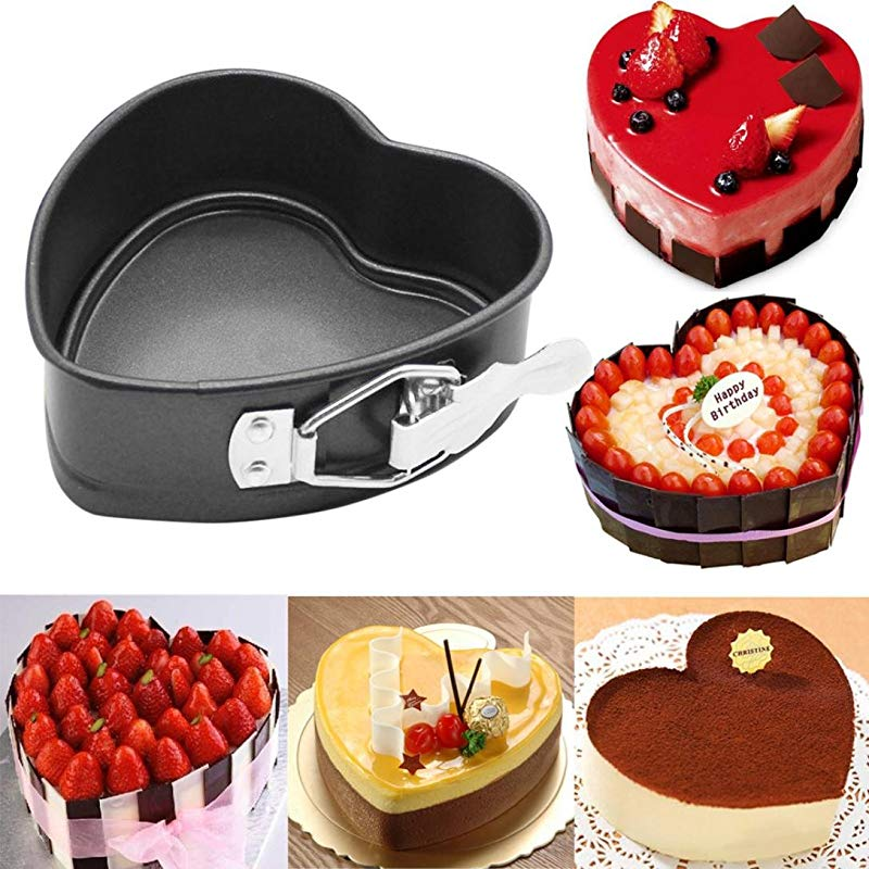 Cake Mold Sacow 4 Inch Heart Shaped Non Stick Springform Mold Removable Bottom Pan Cake Baking Mould
