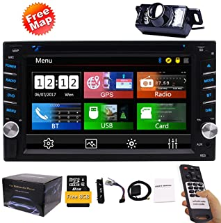 Double Din Car Stereo GPS Navigation System DVD Player Bluetooth 2 Din Car Radio Capacitive Touch Screen + Free Backup Cam...