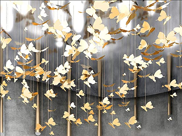Laugh Cat Creative DIY Flying Bird Decorative Hanging Ornaments For Ceiling Light Kindergarten Shopping Mall Home Window Decoration 10 Gold Butterfly