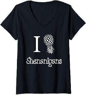 Womens I Love Shenanigans Shirt Swingers Gift Pineapple St. Patrick V-Neck T-Shirt