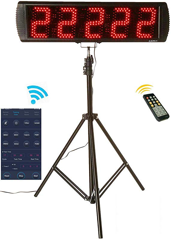 GAN XIN App Control 5 High 5 Digits LED Race Clock With Tripod For Running Events Countdown Up Digital Timer By Remote Control