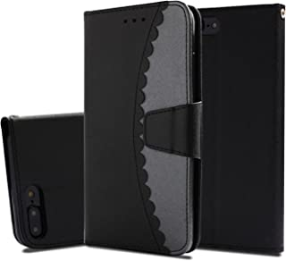 iPhone 8 Plus Case,iPhone 7 Plus Case, UZER Premium PU Leather Flip Folio Wallet Case with Kickstand Card Holder ID Slot and Hand Strap Shockproof Protective Book Case for iPhone 8 Plus/7 Plus