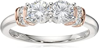 Sterling Silver with Pink Gold Plating Cubic Zirconia Two-Stone Ring