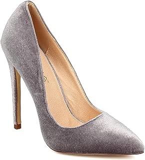 Women Velvet Pointy Toe Single Sole Stiletto Pump FB60 - Grey (Size: 10)