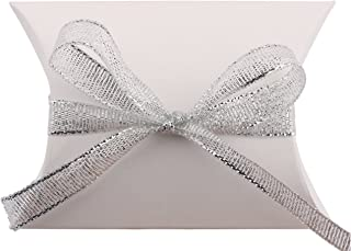 DriewWedding 100 PCs Pillow Gift Boxes Pouch,Wedding Party Favour Candy Cardboard Gift Wrap Box Cards with Silver Stripe,3.5x2.6x1 Inch