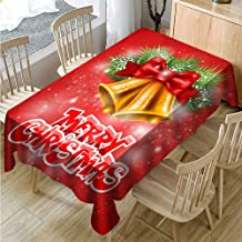 Muuyi Festival Tablecloth Christmas Fabric, Waterproof Spillproof Polyester Fabric Table Cover for Kitchen Dinning Tabletop Decoration, Cafe, Restaurant (Rectangle/Oblong - 60 x 84 Inches)