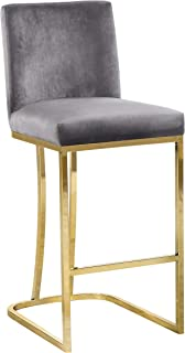 Meridian Furniture Heidi Collection Modern | Contemporary Grey Velvet Upholstered Counter Stool with Polished Gold Metal Legs, 16