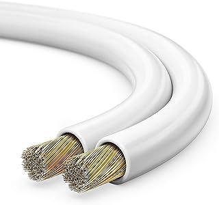 sonero® 50 meter 2x0,75mm² CCA luidsprekerkabel/boxkabel, kleur: wit