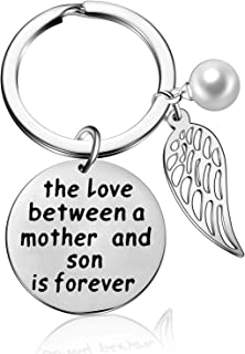 Family Pearl Mom Keychain Gifts from Son Daughter - The Love Between A Mother and Daughter/Son is Forever Keyring Best Mother's Day Gift Jewelry (Mother and Son)
