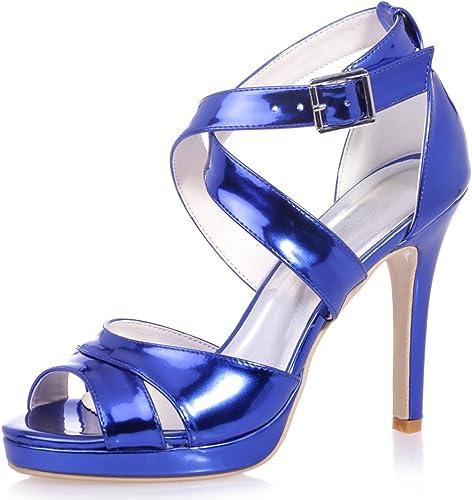 Elobaby Femmes Chaussures De Mariage PU Peep Toe Demoiselles d'honneur Parti Classique Robe Talons Hauts   11cm Talon