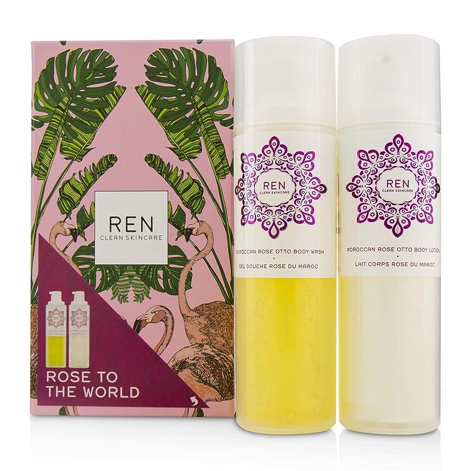 魔女ハーブ系統的レン Rose To The World Moroccan Rose Otto Set: Body Wash 200ml + Body Lotion 200ml 2pcs並行輸入品
