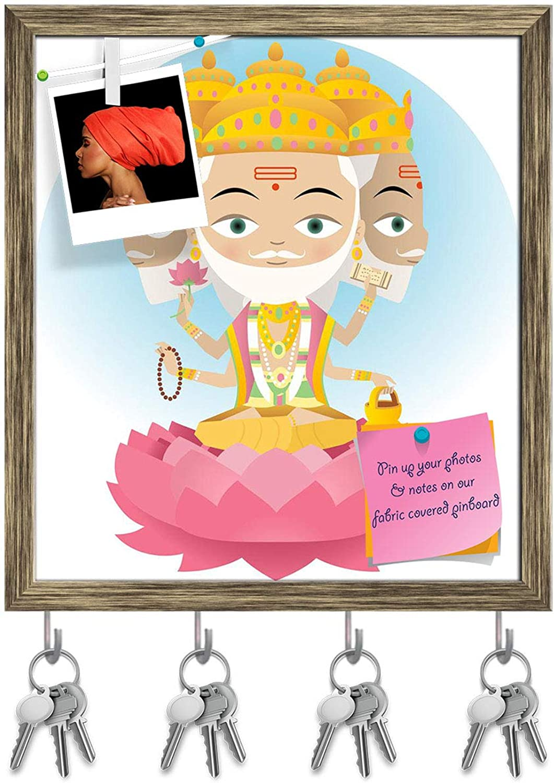Artzfolio Hindu God Brahma Key Holder Hooks   Notice Pin Board   Antique golden Frame 16 X 17.9Inch