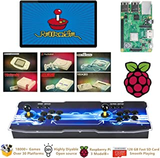 TAPDRA Raspberry Pi 3 Model B+ (B Plus) Arcade Cabinet Machine Video Game Console Complete Full Kit RetroPie Emulation Station ES with 18000+ Games(128GB EVO+) 2 GPIO Joystick