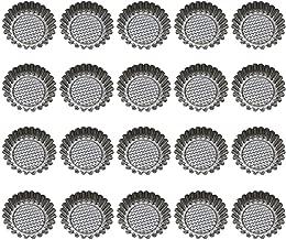 BESTONZON 20pcs Stainless Steel Egg Tart Mold Flower Shape Reusable Cupcake and Muffin Baking Cup Baking Tool