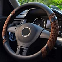 Breathable Steering Wheel Cover, Ice Silk(Viscose Fiber) and Leather, Non-slip Wear and Sweat Absorption, Suitable for All Types of Vehicles (Brown,M)