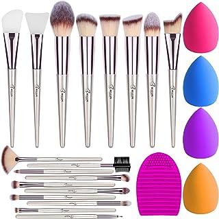 BESTOPE Makeup Brushes 18Pcs Makeup Brush Set, Premium Synthetic Contour Concealers Foundation Powder Eye Shadows Make Up Brushes Kit 2 PCS Silicone Face Mask Brush&4 Blender Sponge&1 Brush Cleaner