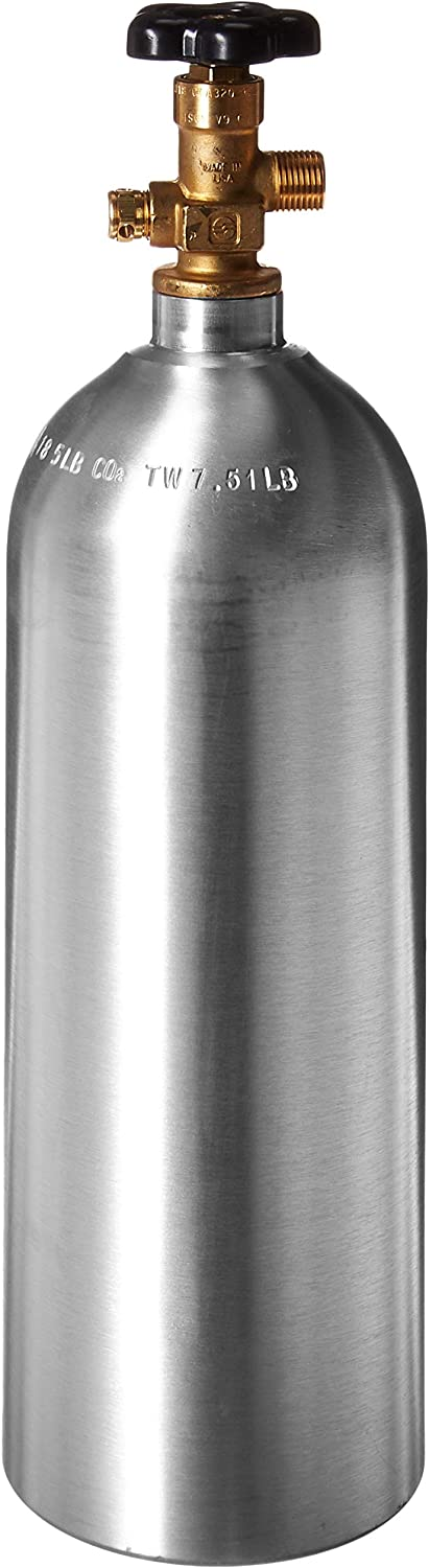 Zebra DNA Luxfer L6X Aluminum CO2 Tanks with CGA320 on off Valve (Natural, 5 LB)