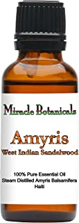 Miracle Botanicals Wildcrafted Amyris - West Indian Sandalwood Essential Oil - 100% Pure Amyris Balsamifera - 10ml or 30ml Sizes - Therapeutic Grade - 30ml