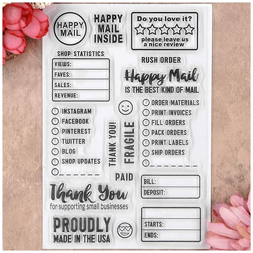 Kwan Crafts Happy Mail Thank You Clear Stamps for Card Making Decoration and DIY Scrapbooking