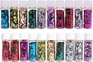 Midas Beautiful & Assorted Colors Sparkle Glitter Flakes Bottle Star and Heart Shape for Creative DIY Arts & Crafts - Combo of 20-5ml Each