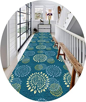 W/z/z Modern Multicolor Print Rugs, 6mm Soft and Comfortable Running Rug, Bedroom/Living Room/Kitchen/Corridor, Blue (Size : 0.8x4m)