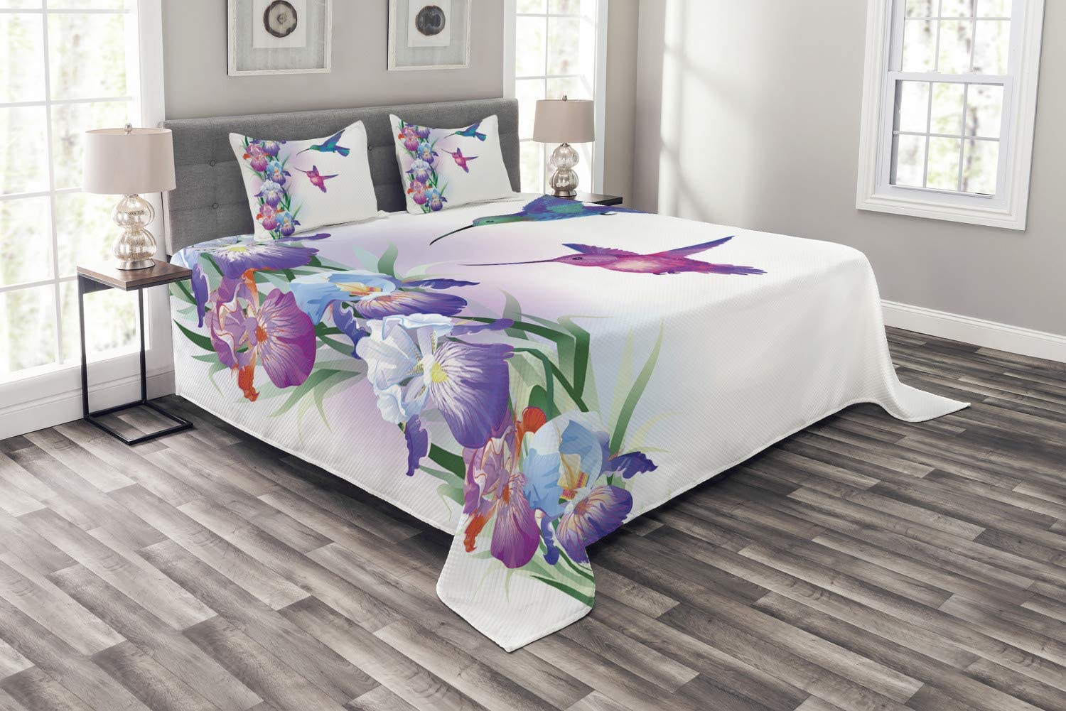 Lunarable Hummingbird Bedspread, Colorful Birds with Foliage and Blossoming Iris Flowers Coming of The Spring, Decorative Quilted 3 Piece Coverlet Set with 2 Pillow Shams, King Size, Pastel Purple