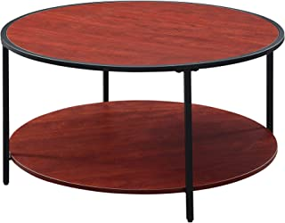 Convenience Concepts Tucson Metal Round Coffee Table, Cherry/Black