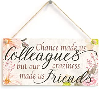 Chance made us Colleagues but our craziness made us Friends - Beautiful Handmade Sign Meaningful Co-worker Leaving Small Goodbye Gift Wooden Hanging Sign 8
