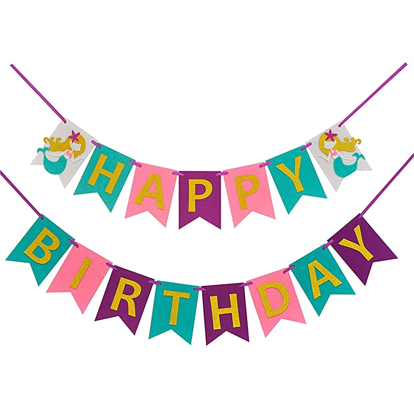 Mermaid Happy Birthday Banner( Assembled)with Glitter Gold Letters,Birthday Colorful Felt Banner,Mermaid Party Decorations Favors,Mermaid photo props, Birthday Party Supplies For Cute Fairy Girls
