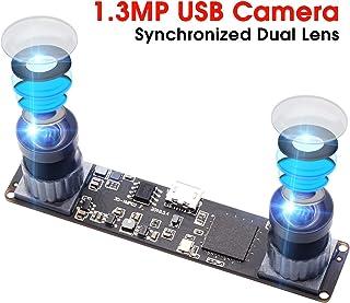 Synchronized Dual Lens Stereo USB Camera 1.3MP HD 960P Webcam 3D VR Web Camera Module with 1/3 CMOS OV9715 Image Sensor Camera Module Mini Industrial Web Cam (1.3MP Dual Lens No Distortion)