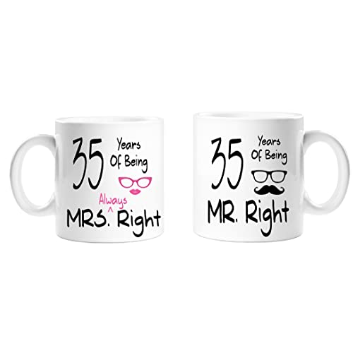 35 Years Of Being Mr Right & Mrs Always Right Novelty Anniversary Gift Mugs -35th