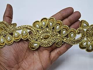 Indian Wholesale Bronze Embellishment 2.5 inch Gold kundan lace Sari Border Online Kids wear Handmade Crafting Decorative Ribbon Bead Trims by 9 Yard Sewing Wedding Trimmings
