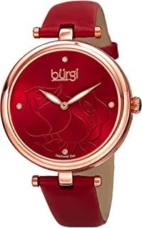 Diamond Accented Rose Dial Watch - 4 Diamond Hour Markers On Genuine Leather Strap - BUR151