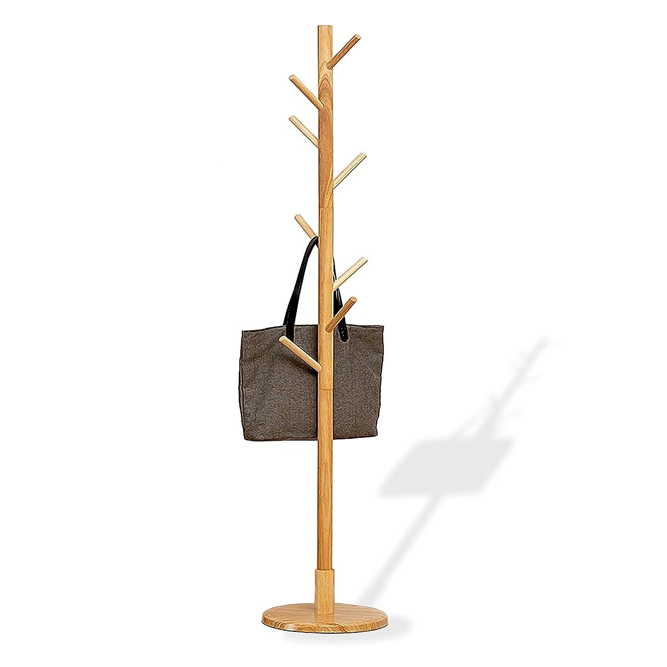 勝利トムオードリース少ないAKOZLIN ポールハンガー 木製ハンガー 小枝 コートハンガー 木製コートハンガー ハンガーラック 帽子掛け スーツ掛け 耐荷重50KG フック8本 丸型の台座直径35cm×高さ165cm 頑丈 おしゃれ 北欧風 オシャレ
