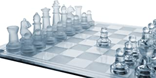 Gamie 14 Inch Glass Chess Set, Elegant Design - Durable Build - Fully Functional - 32 Frosted and Clear Pieces - Felted Bo...