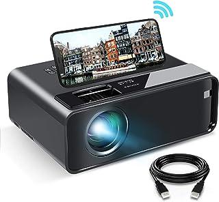 WiFi Projektor, ELEPHAS 2020 WiFi Mini Projektor mit Synchronisierungsbildschirm, 1080P HD tragbarer Projektor mit 6000 Lux und 200 Zoll Bildschirm, kompatibel mit Android/iOS (schwarz)